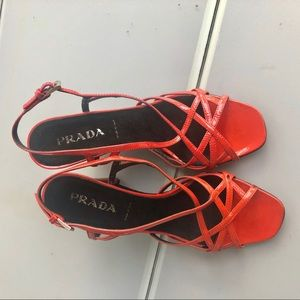 Prada Shoes - Prada red patent leather wedge sandals 6.5